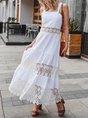 White Square Neck Lace Paneled Maxi Dress