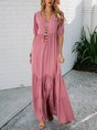 V Neck Pink Swing Tiered Maxi Dress