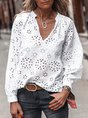 White V Neck Patchwork Casual Top