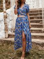 Holiday Printed Tribal Top With Skirt Two-Piece Set