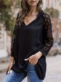 Black Floral Casual Solid Lace Blouse
