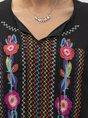 Tribal Half Sleeve Boho Embroidery Maxi Dress