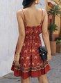 Sundress Spaghetti-Strap V Neck Tribal Mini Dress