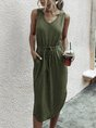 V Neck Sleeveless Casual Shift Midi Dress