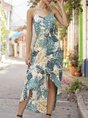 V Neck High Low Holiday Floral Maxi Dress
