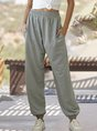 Solid Daily Pockets Casual Pants
