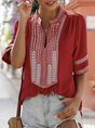 Holiday V Neck Solid  Embroidery Blouse