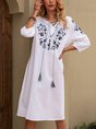 V Neck White A-Line Boho Midi Dress