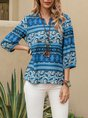 Blue Vintage Shift V Neck Tribal Top