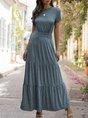 Short Sleeve Shirred Knitted Maxi Dress
