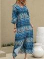 Sundress V Neck Shift Boho Maxi Dress