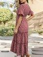 V Neck Holiday Printed Maxi Dress