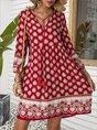 V Neck Red A-Line Floral Mini Dress