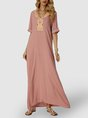 V Neck Pink Swing Paneled Boho Maxi Dress
