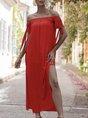 Horizontal Neck  Shift Beach Holiday Maxi Dress
