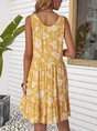 Yellow Beach Floral Mini Dress