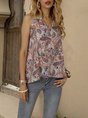 Pink Floral-Print Tribal Sleeveless Top