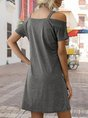 Off Shoulder Shift Solid Mini Dress