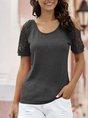 Eyelet Off Shoulder Shift Short Sleeve T-Shirt