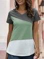 Solid Color-Block Short Sleeve T-Shirt