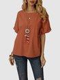Orange Solid Short Sleeve Casual T-Shirt