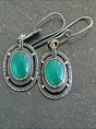 Green Square Earrings