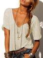 Cotton-Blend Short Sleeve Solid V Neck T-Shirt