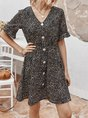 V Neck Holiday Printed Mini Dress