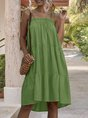 Square Neck Shift Holiday Tiered Solid  Mini Dress