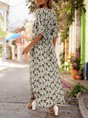 V Neck Green Boho Floral Maxi Dress