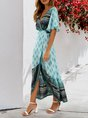 V Neck Green A-Line Printed Maxi Dress