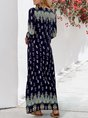 Tribal 3/4 Sleeve V Neck Maxi Dresses
