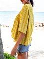 Yellow Paneled Half Sleeve Boho Top