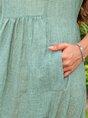 Notch Neckline Green Daily Plain Maxi Dress