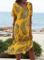 V Neck Yellow Shift Casual Midi Dress