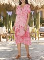 Women Holiday Tie-Dyed V Neck Dresses