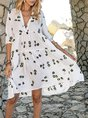 Off White Swing V Neck Half Sleeve Gathered Mini Dresses