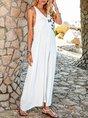 V Neck White Holiday Solid Maxi Dress