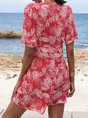 V Neck Rose Red Shift Date Floral Mini Dress