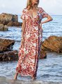 V Neck Red A-Line Boho Paneled Maxi Dress