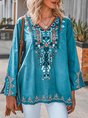 V-neck Long Sleeve Floral Embroidery Blouse