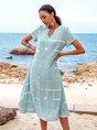 Blue Short Sleeve Striped Floral-Print A-Line Maxi Dresses