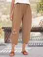 Brown Embroidered Shift Simple Pant