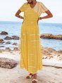 Yellow Striped V Neck Boho Dresses