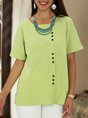 Light Green Crew Neck Short Sleeve Solid Buttoned Top