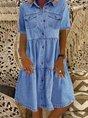 Denim Daily Casual Shirt Collar Short Sleeve Buttoned Pockets A-line Dresses