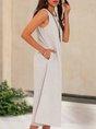Gray Paneled Sleeveless Stripes Shift Midi Dress