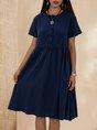 Purplish Blue Casual  Solid Short Sleeve Midi  Dress
