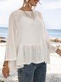 White Bell Sleeve Solid Work Top