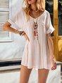 V Neck White Shift Daily Linen Mini Dress